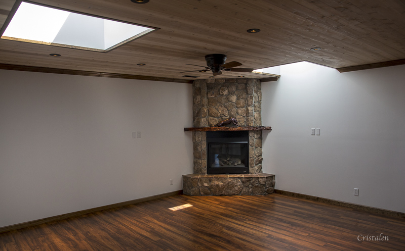 The fireplace in the corner of an empty living room.