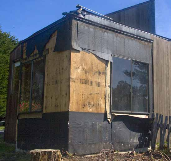 The exterior of the living room while it was under construction.